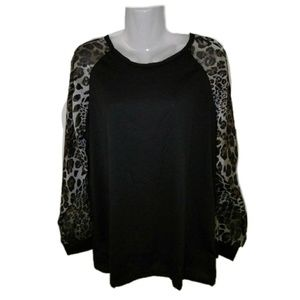 Tops - Brand new women's blouse with sheer cheetah print